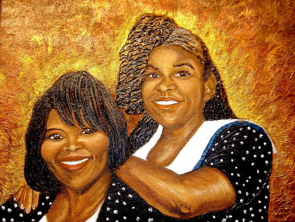 Portrait Poster featuring the painting Mother Daughter Friend by Keenya Woods