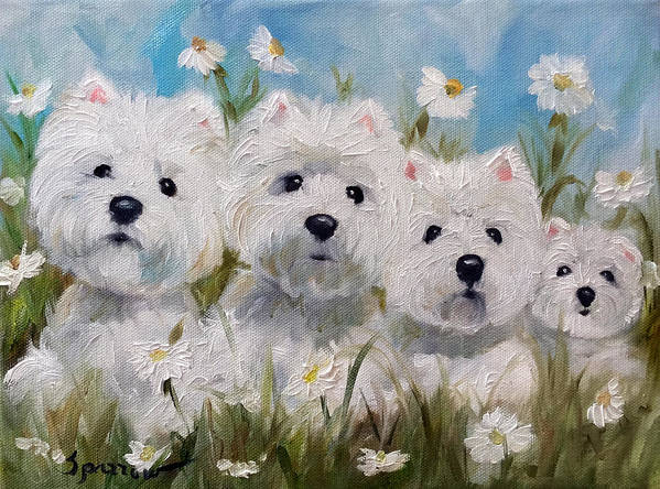 Westie Poster featuring the painting Mother's And Daughters by Mary Sparrow