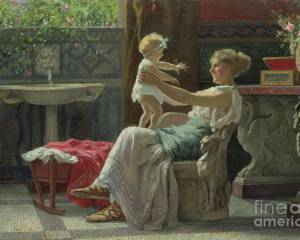 Baby; Roman; Fountain; Interior; Classicising; Classical; Antique; Scene; Mother; Child; Cradle; Maternal; Maternity; Love; Family; Smile; Laughing; Playing; Ribbon Poster featuring the painting Mother's Darling by Zocchi Guglielmo