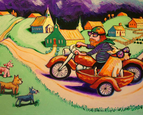 Poster featuring the painting Motocycle Mike by Robert Tarr