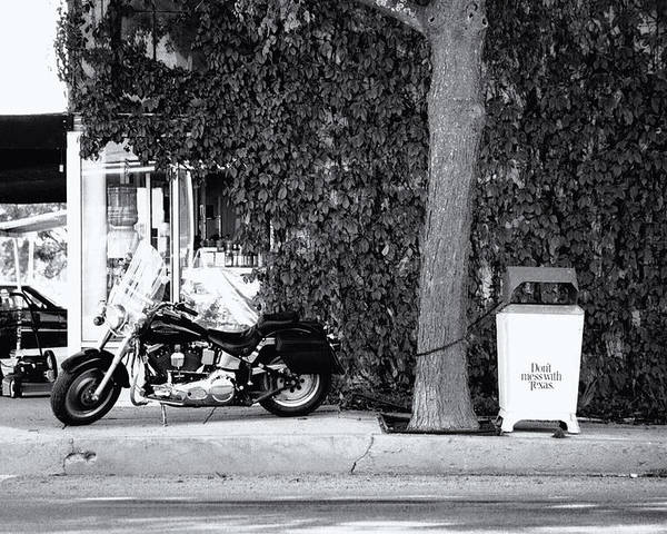 Motorcycle Poster featuring the photograph Motorcycle In Big Spring Tx by Troy Montemayor