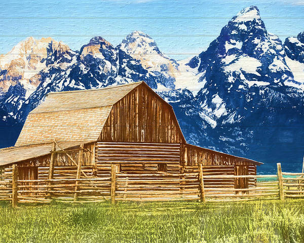 Wood Poster featuring the mixed media Moulton Barn Wood Panels by Dan Sproul