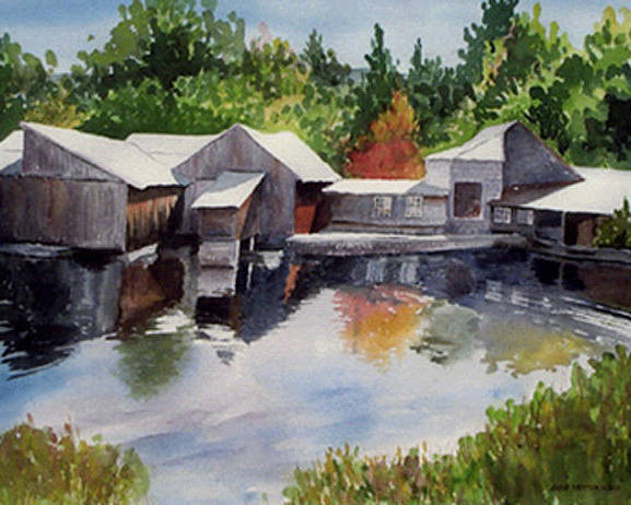 Landscape Poster featuring the print Moulton's Mill by Anne Trotter Hodge