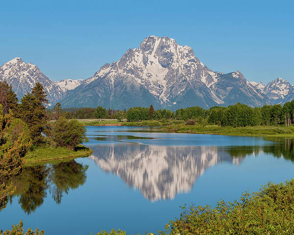 Mount Moran Poster featuring the photograph Mount Moran On Snake River Landscape by Brian Harig