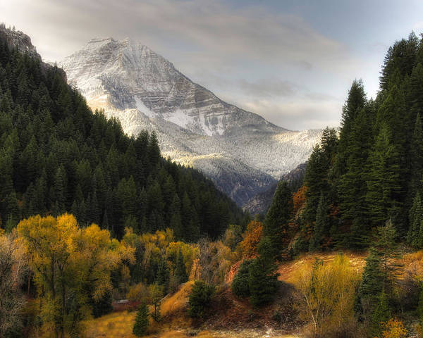 Mountain; Peak; Peaks; Mount Timpanogos Wilderness; Wasatch Mountains; Mt; Mts; Autumn; Fall; Winter Poster featuring the photograph Mount Timpanogos 2 by Douglas Pulsipher