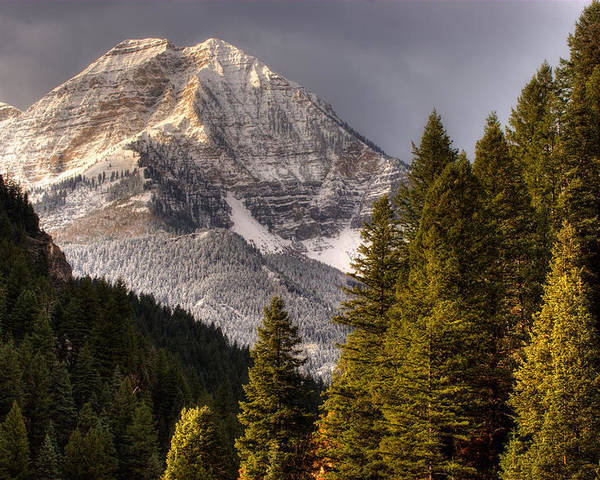 Mountain; Peak; Peaks; Mount Timpanogos Wilderness; Wasatch Mountains; Mt; Mts; Autumn; Fall; Winter Poster featuring the photograph Mount Timpanogos 3 by Douglas Pulsipher