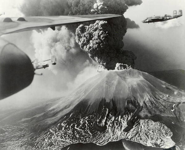 Europe Poster featuring the photograph Mount Vesuvius Coughs Up Ash And Smoke by Us Army Air Forces Official