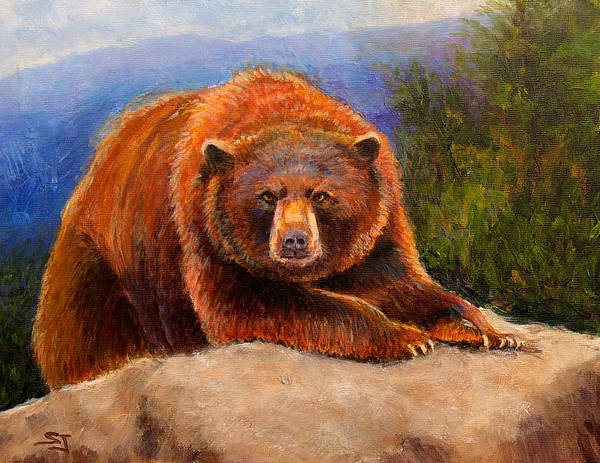 Wildlife Poster featuring the painting Mountain Bear by Susan Jenkins