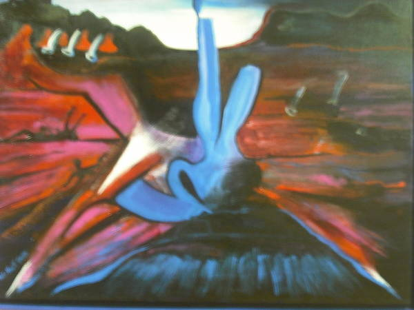 Acrylic. Mountains Poster featuring the painting Mountain Ciser by Anthony Hurt