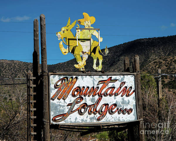Albuquerque Poster featuring the photograph Mountain Lodge Sign by Stephen Whalen