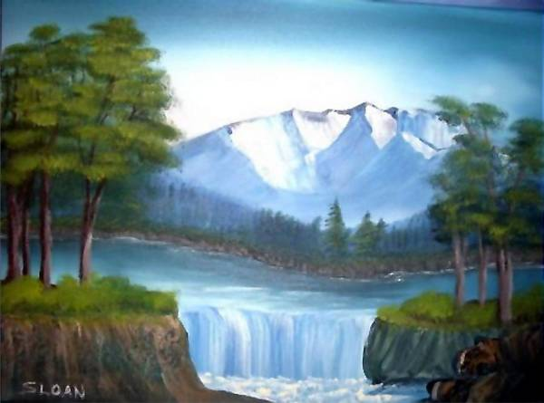 Landscape Poster featuring the painting Mountain Majesty by Ervin Sloan