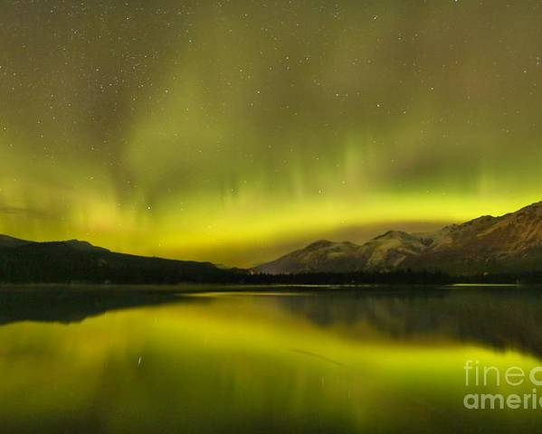 Canadian Northern Lights Poster featuring the photograph Mountain Night Lights by Adam Jewell