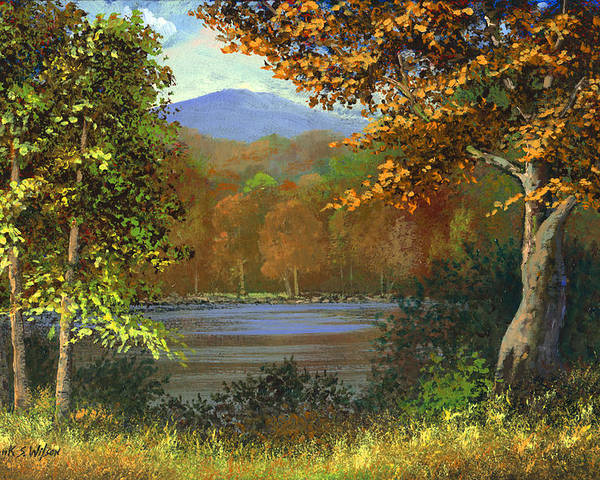Landscape Poster featuring the painting Mountain Pond by Frank Wilson