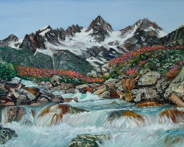 Mountain Poster featuring the painting Mountain Stream by Quwatha Valentine