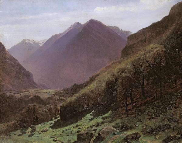 Mountain Poster featuring the painting Mountain Study by Alexandre Calame