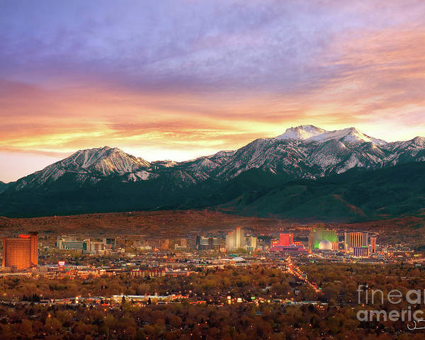 Achievement Poster featuring the photograph Mountain Twilight Of Reno Nevada by Vance Fox