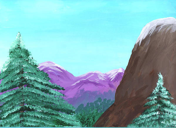 Mountain Poster featuring the painting Mountain View by M Valeriano