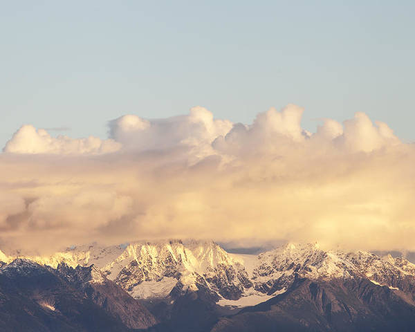 Alaska Poster featuring the photograph Mountains And Clouds by Michele Cornelius