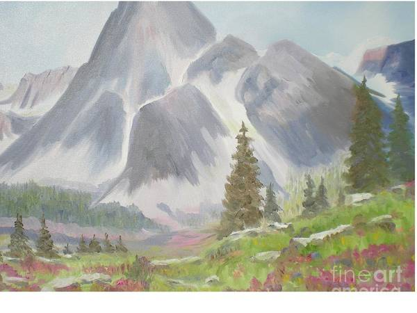 Landscape Poster featuring the painting Mountains And Meadows by Hal Newhouser