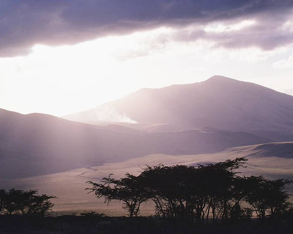 Africa Poster featuring the photograph Mountains And Smoke, Ngorongoro Crater by Skip Brown