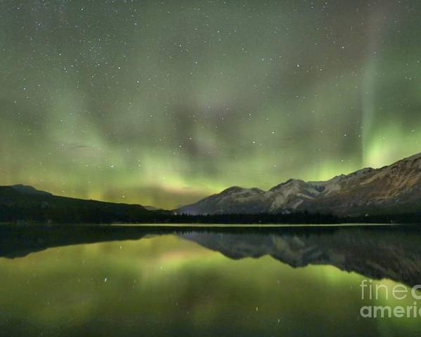 Canadian Northern Lights Poster featuring the photograph Mountains In The Northern Lights by Adam Jewell