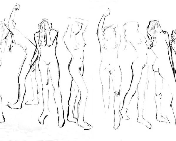 Life Drawings Poster featuring the drawing Movement by Joanne Claxton