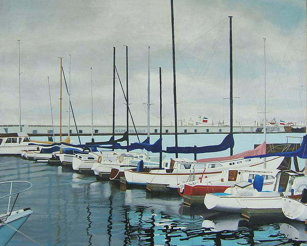 Boats At Dock Poster featuring the painting Mozells Boats by Howard Stroman