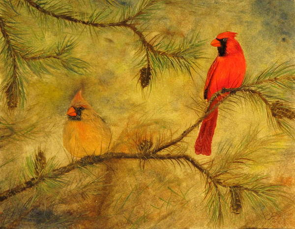Cardinals Poster featuring the painting Mr And Mrs by Catfish Lawrence