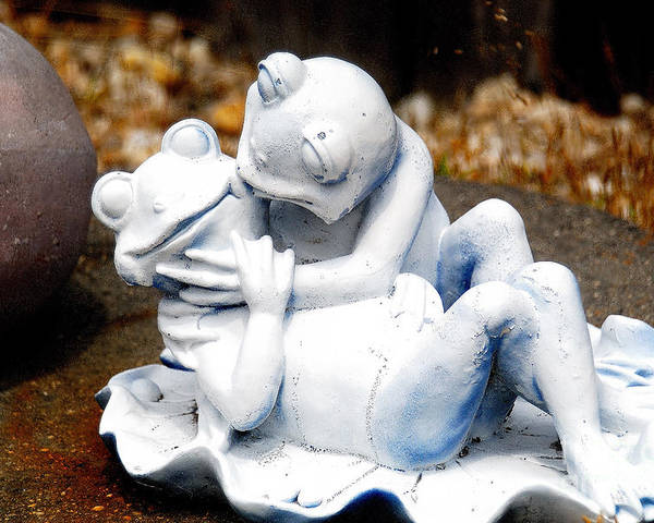 Statue Poster featuring the photograph Mr And Mrs Frog by Marc Bittan