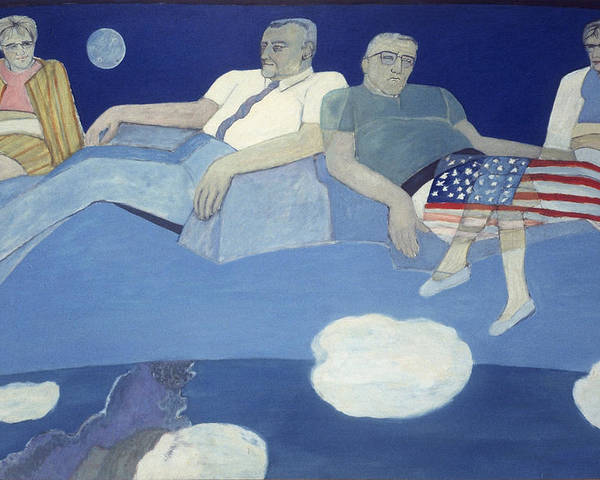 Imaginative Figurative Contemporary Poster featuring the painting Mr And Mrs J L Butler Flying Over The Atlantic by Patricia Buckley