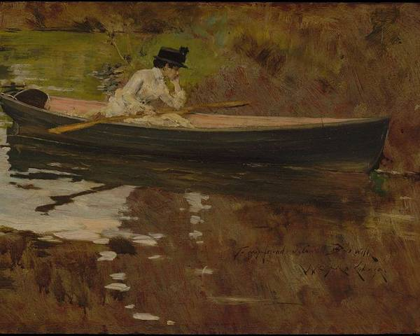 Girl Poster featuring the painting Mrs. Chase In Prospect Park , William Merritt Chase by William Merritt Chase