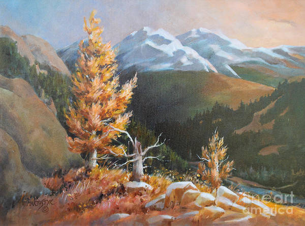 Landscape Poster featuring the painting Mt. Rainier 5 by Marta Styk