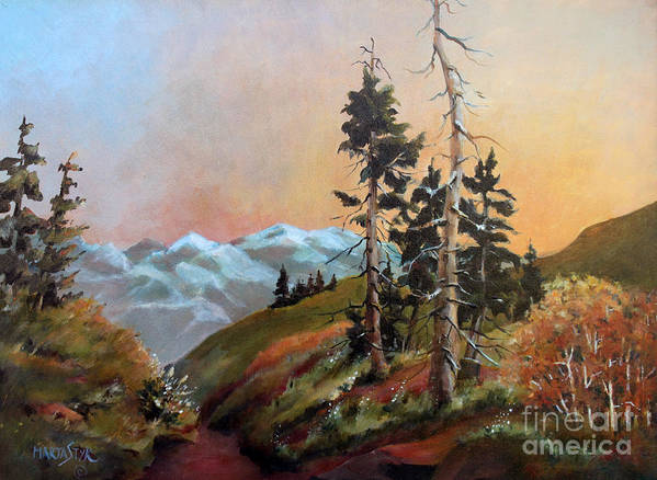 Landscape Poster featuring the painting Mt. Rainier 6 by Marta Styk