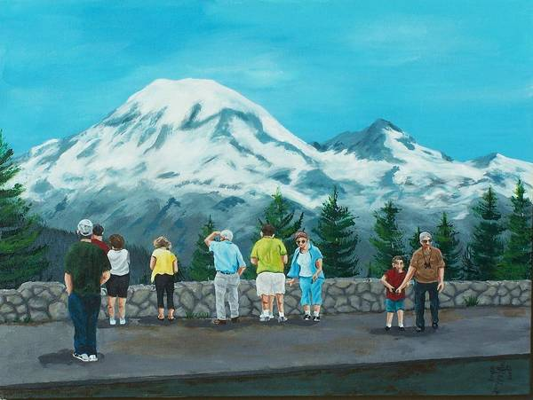 Landscape Poster featuring the painting Mt. Rainier Tourists by Gene Ritchhart