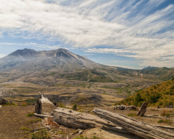 Mt St Helens Volcano After 1980 Eruption Mount Saint Helen National Monument Park Poster featuring the photograph Mt St Helens by Brian Harig