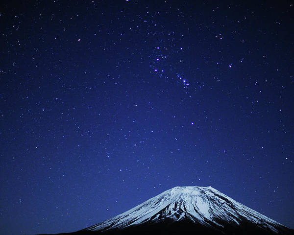 Horizontal Poster featuring the photograph Mt.fuji And Winter Stars by Takeshi.K