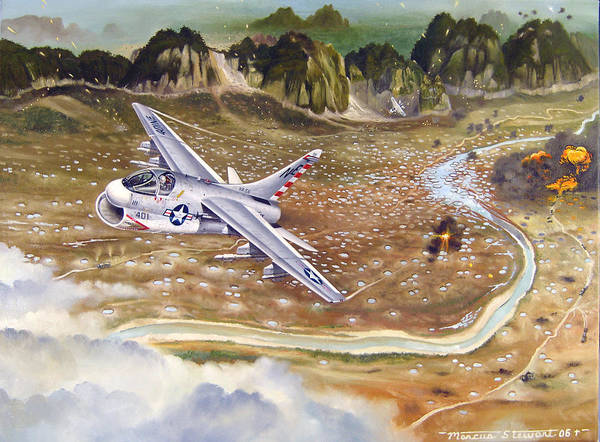 Aviation Poster featuring the painting Mu Gia Mayhem by Marc Stewart