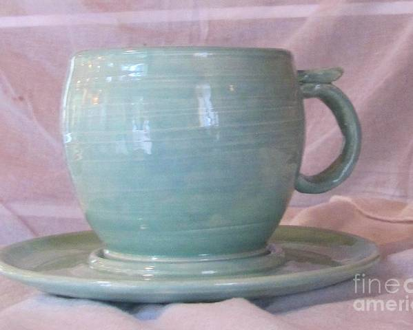 Coffee Cup Poster featuring the ceramic art Mug And Saucer by Lisa Dunn