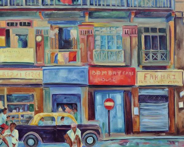 Mumbai Shops Poster featuring the painting Mumbai Business District by Ginger Concepcion