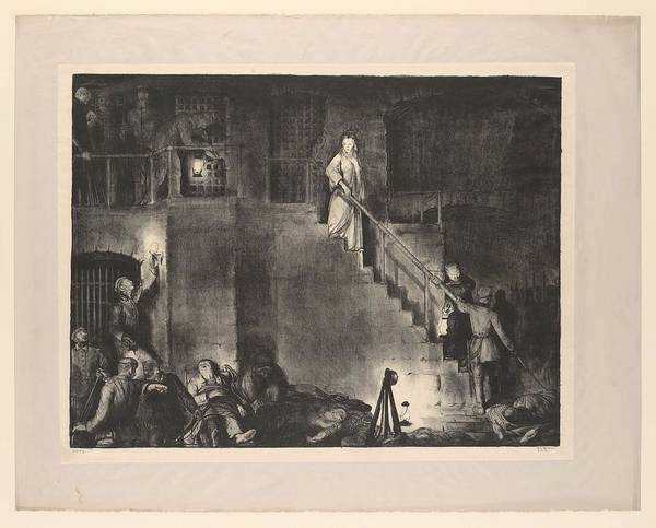 Girl Poster featuring the painting Murder Of Edith Cavell, First State By George Bellows 1882-1925 by George Bellows