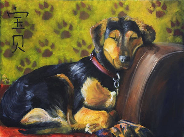 Dog Poster featuring the painting Murphy Vi Sleeping by Nik Helbig