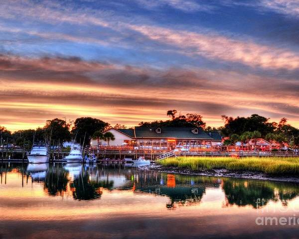 Landscapes Poster featuring the photograph Murrells Inlet Sunset 3 by Mel Steinhauer