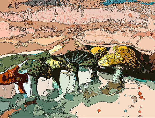 Mushroom Poster featuring the painting Mushroom Rows by Mindy Newman