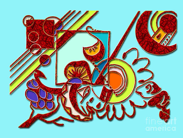 Cool Blue Tone Poster featuring the digital art Mushrooms And Grapes Blue by Giovanna Borgo-Carrillo