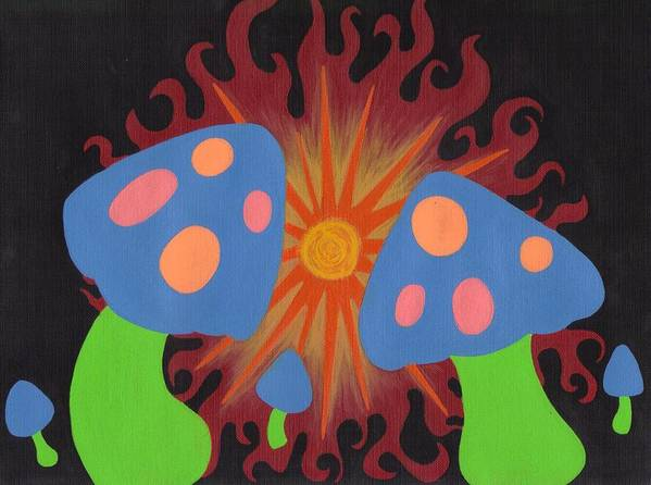 Mushrooms Poster featuring the painting Mushrooms And Fire by Jill Christensen