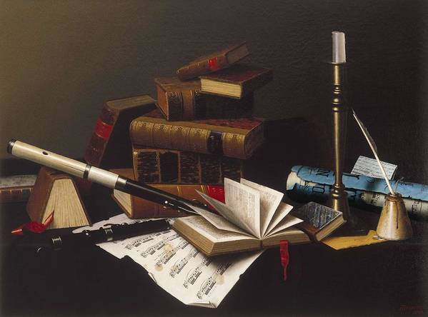 Art Poster featuring the painting Music And Literature By William Michael Harnett by William Michael Harnett