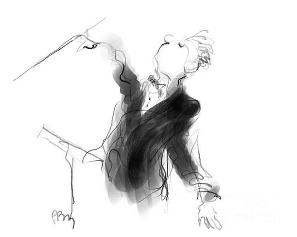 Music Conductor Poster featuring the drawing Music Conductor Sketch by Paul Miller