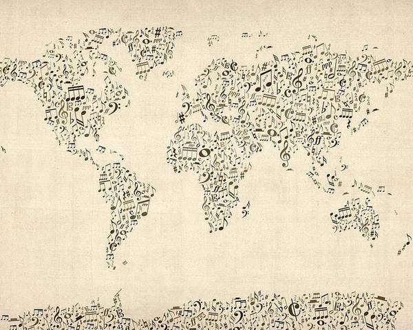 World Map Poster featuring the digital art Music Notes Map Of The World Map by Michael Tompsett