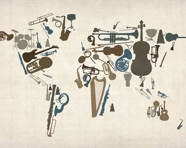 World Map Poster featuring the digital art Musical Instruments Map of the World Map by Michael Tompsett