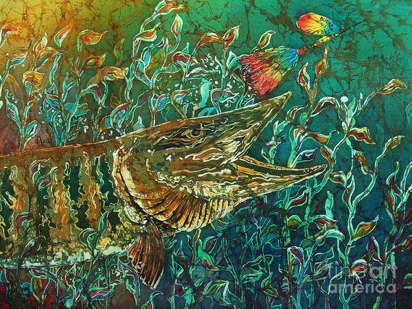 Batik Poster featuring the tapestry - textile Musky- Chasin by Sue Duda